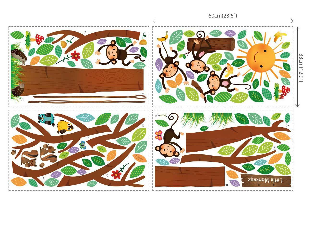 hyundae sheet wandsticker 5 kleine affen auf dem baum 151 cm www 4. Black Bedroom Furniture Sets. Home Design Ideas