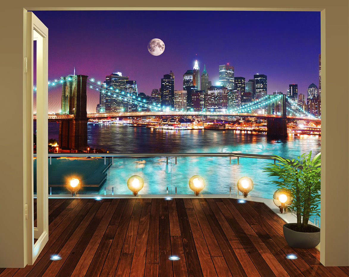 fototapete new york brooklyn bridge bei nacht wandtapete. Black Bedroom Furniture Sets. Home Design Ideas