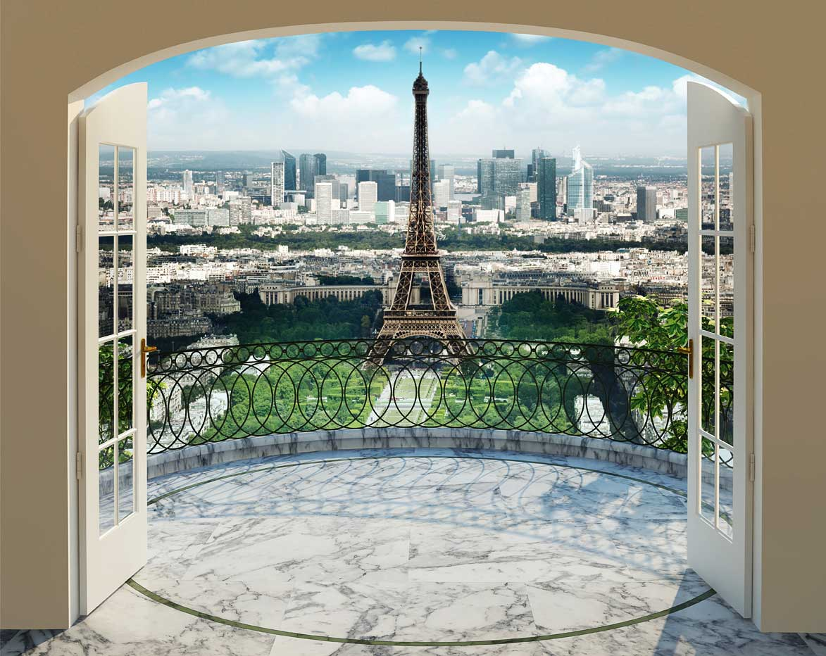 fototapete paris eiffelturm panorama walltastic fototapete. Black Bedroom Furniture Sets. Home Design Ideas