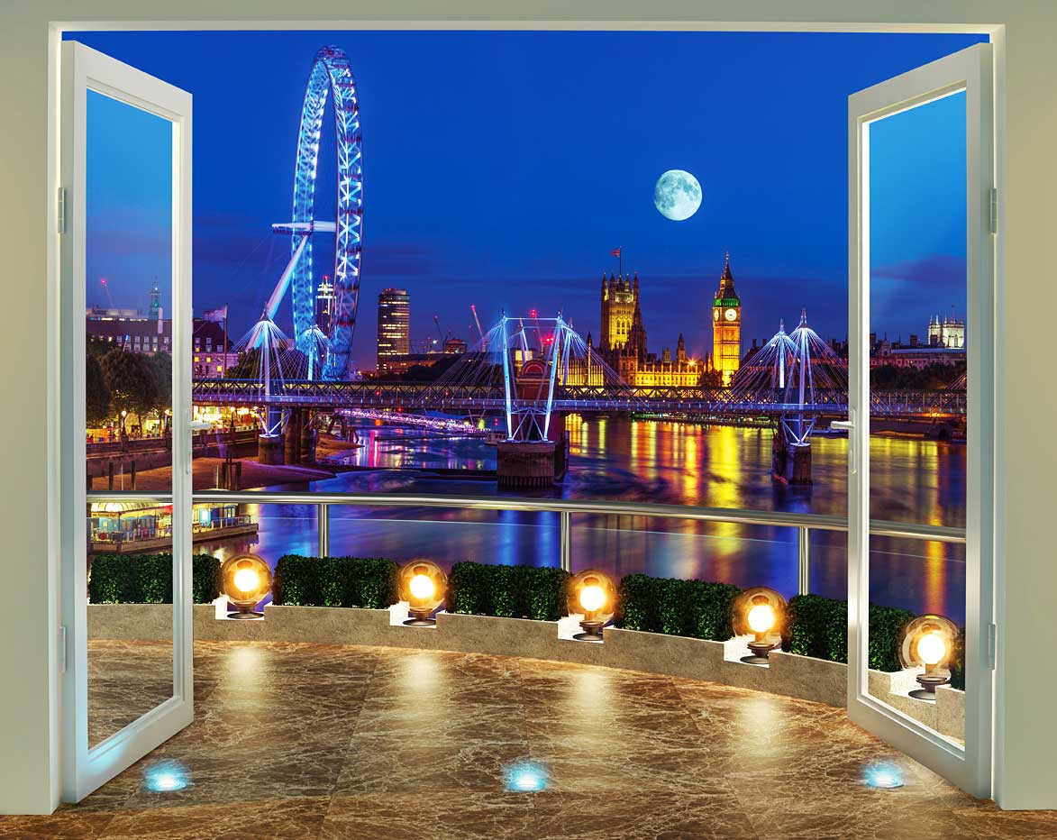 walltastic fototapete london eye bei nacht skyline riesenrad wandtatpete wandeko ebay. Black Bedroom Furniture Sets. Home Design Ideas