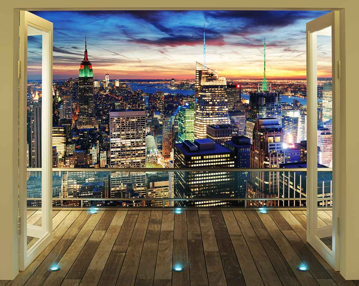 fototapete new york skyline bei nacht wandtapete. Black Bedroom Furniture Sets. Home Design Ideas