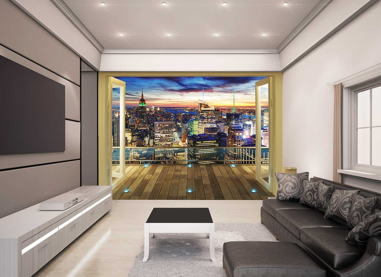 fototapete new york skyline panorama walltastic fototapete. Black Bedroom Furniture Sets. Home Design Ideas