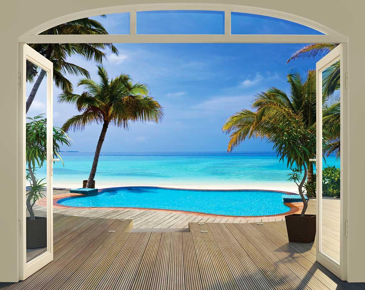 Walltastic fototapete pool palmen paradise beach sonne for Fototapete urlaub