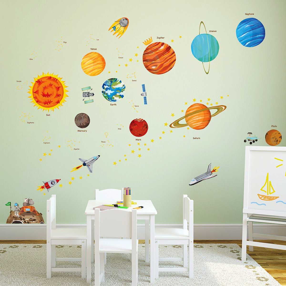 wandsticker planeten sonnensystem weltraum wandsticker. Black Bedroom Furniture Sets. Home Design Ideas
