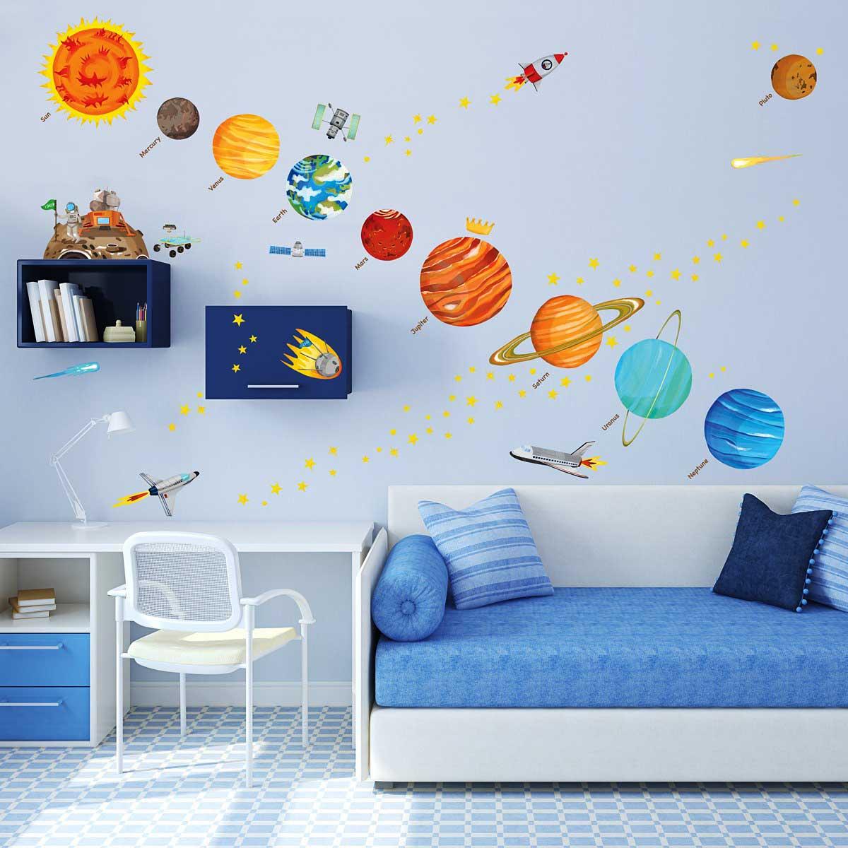 Wandsticker planeten sonnensystem weltraum wandsticker kinderzimmer - Wandsticker jugendzimmer ...