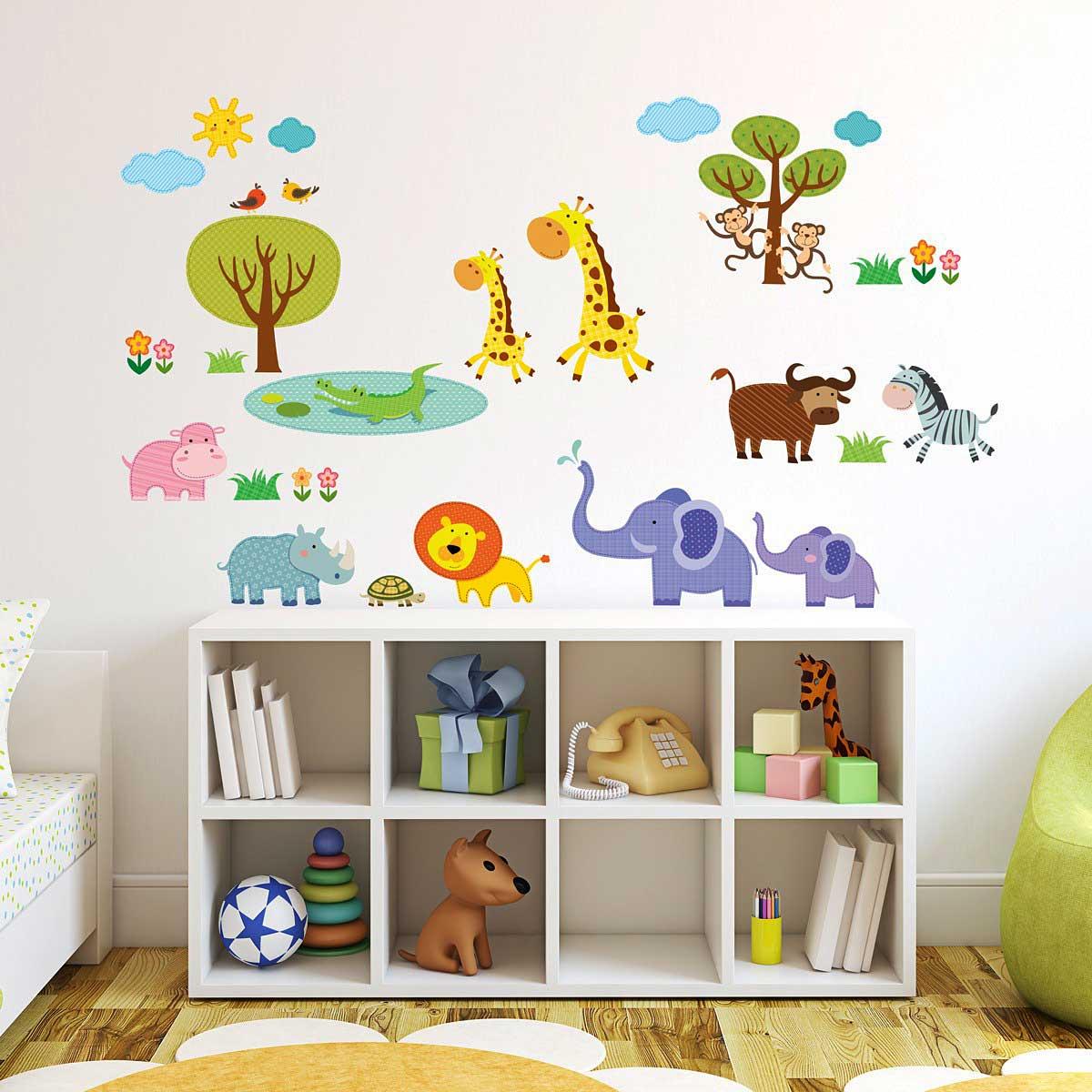 Wandsticker Dschungeltiere Patchwork Wandsticker Kinderzimmer