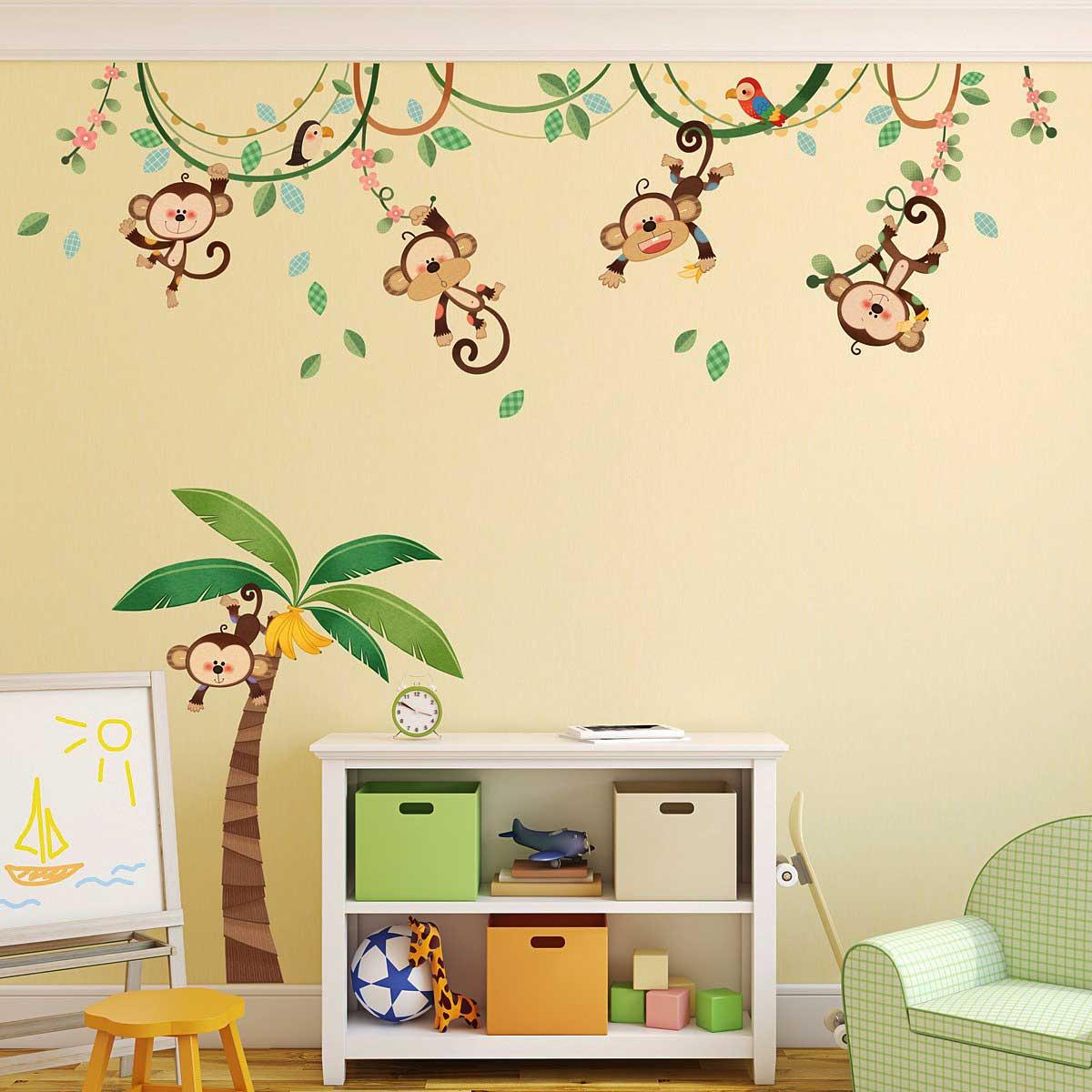 hyundae sheet wandsticker kinderzimmer affen dschungel palme liane www 4. Black Bedroom Furniture Sets. Home Design Ideas