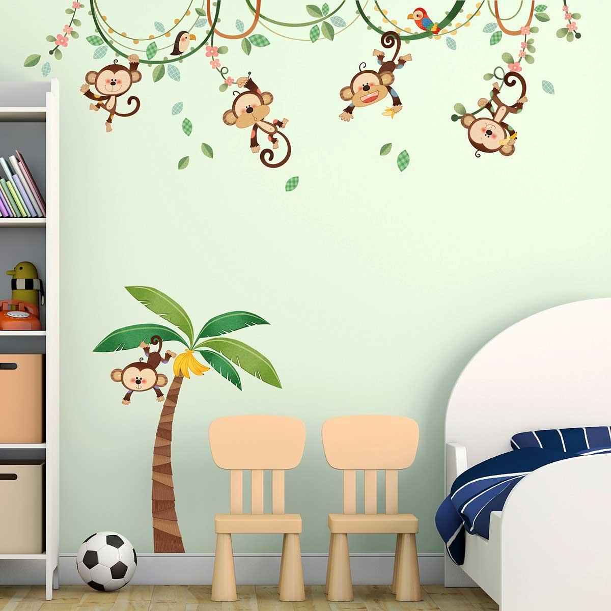 Wandsticker kinderzimmer affen dschungel palme liane www 4 - Babyzimmer jungle ...