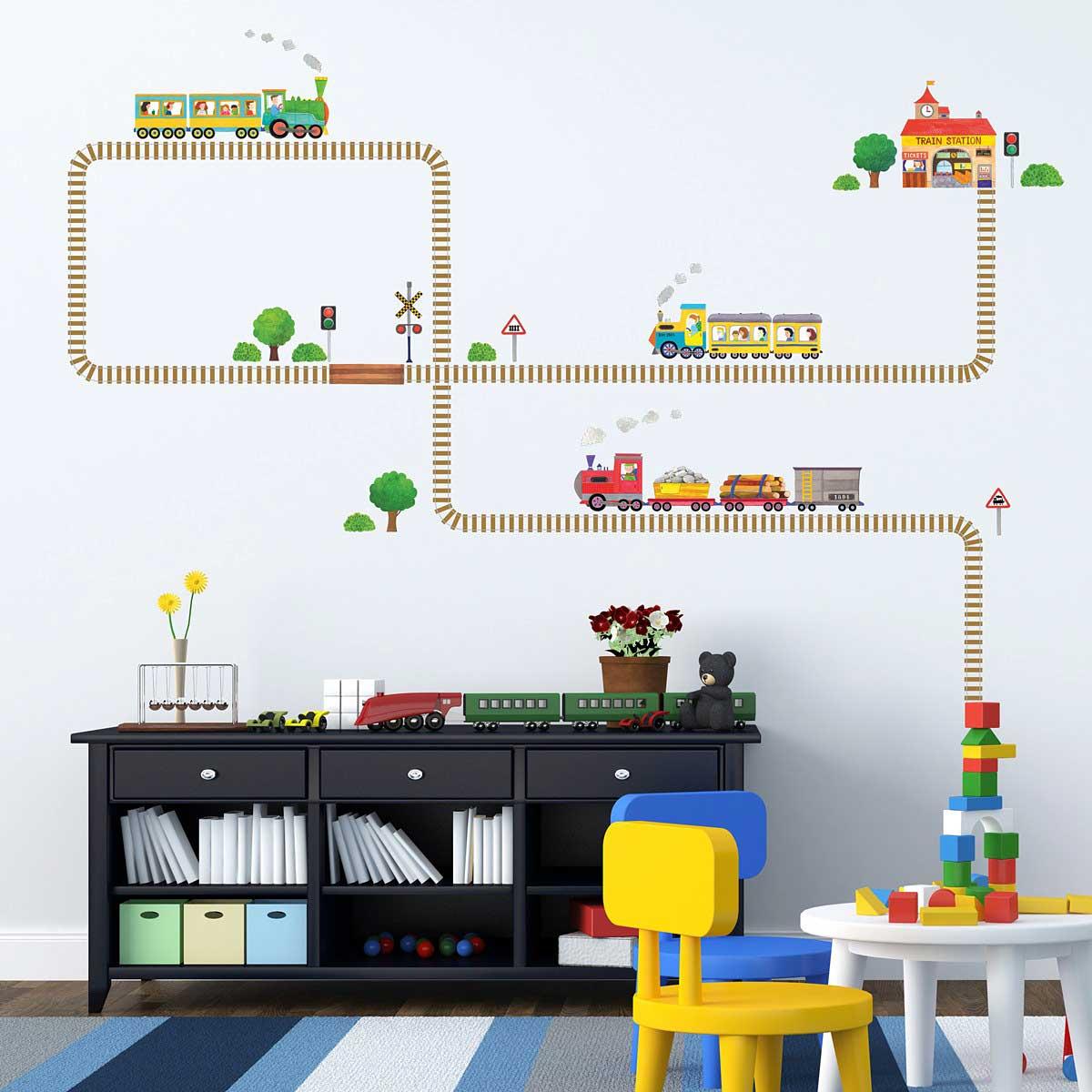 wandsticker eisenbahn schienen wandsticker kinderzimmer. Black Bedroom Furniture Sets. Home Design Ideas