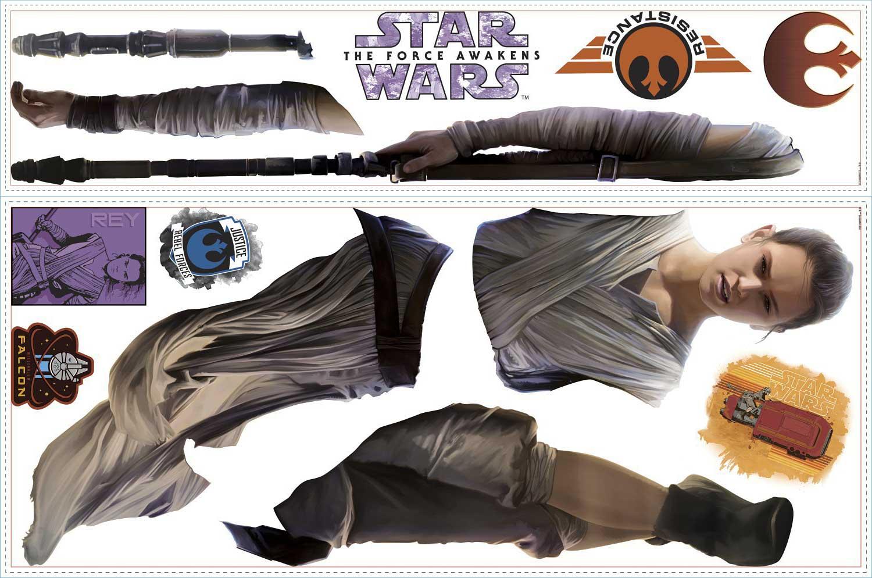 Roommates wandsticker star wars erwachen der macht rey - Star wars wandsticker ...