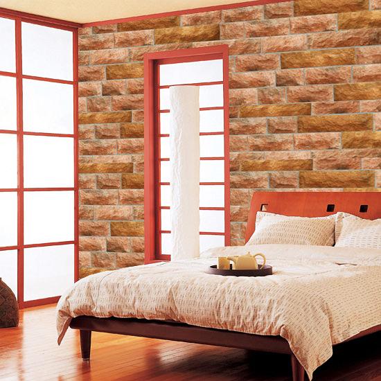 Selbstklebende Tapete Stein : selbstklebende Tapete Steinmauer Kiesel rot Schlafzimmer