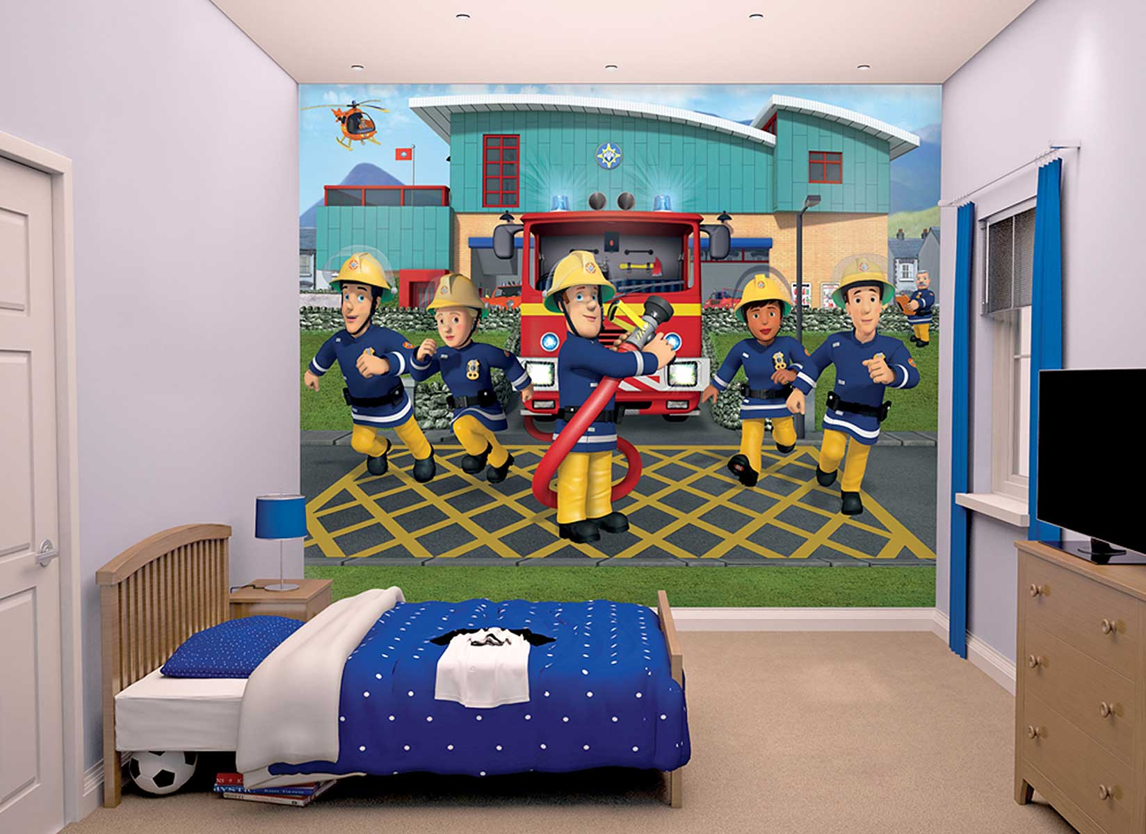 fototapete kinderzimmer feuerwehrmann sam tapetenkleister feuerwehr wanddeko ebay. Black Bedroom Furniture Sets. Home Design Ideas