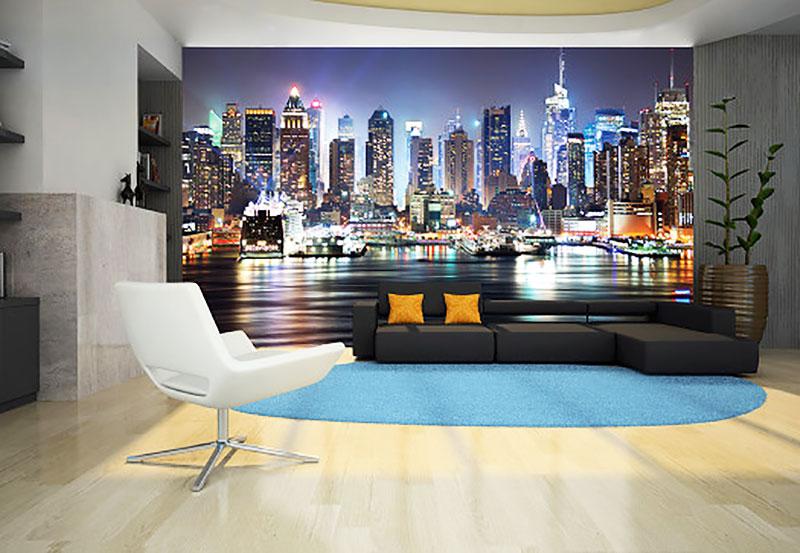 fototapete new york nacht skyline fototapete 8 teile. Black Bedroom Furniture Sets. Home Design Ideas