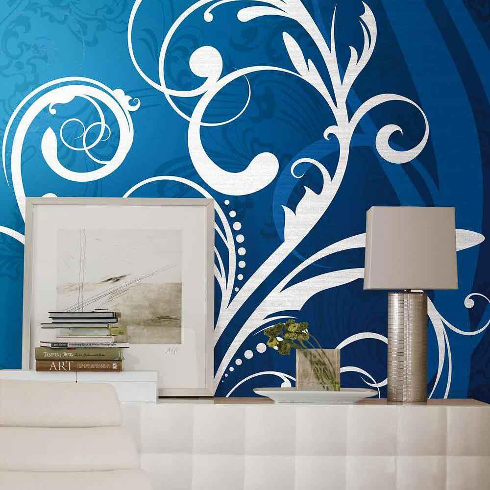 wohnzimmer blau weiß:Fototapete Scroll blau weiß Wohnzimmer ~ wohnzimmer blau weiß