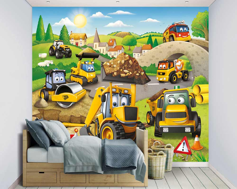 walltastic fototapete kinderzimmer baustelle my 1st jcb www 4. Black Bedroom Furniture Sets. Home Design Ideas