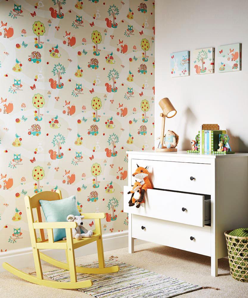 kinderzimmer tapete waldtiere babyzimmer. Black Bedroom Furniture Sets. Home Design Ideas