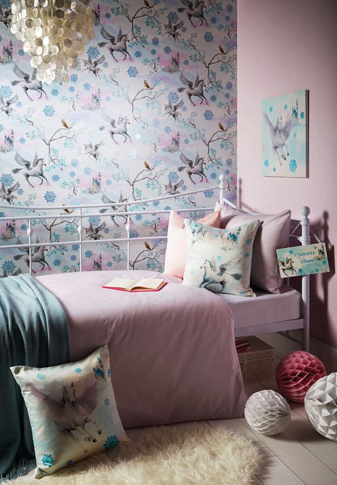 tapete einhorn pegasus blau m dchenzimmer. Black Bedroom Furniture Sets. Home Design Ideas