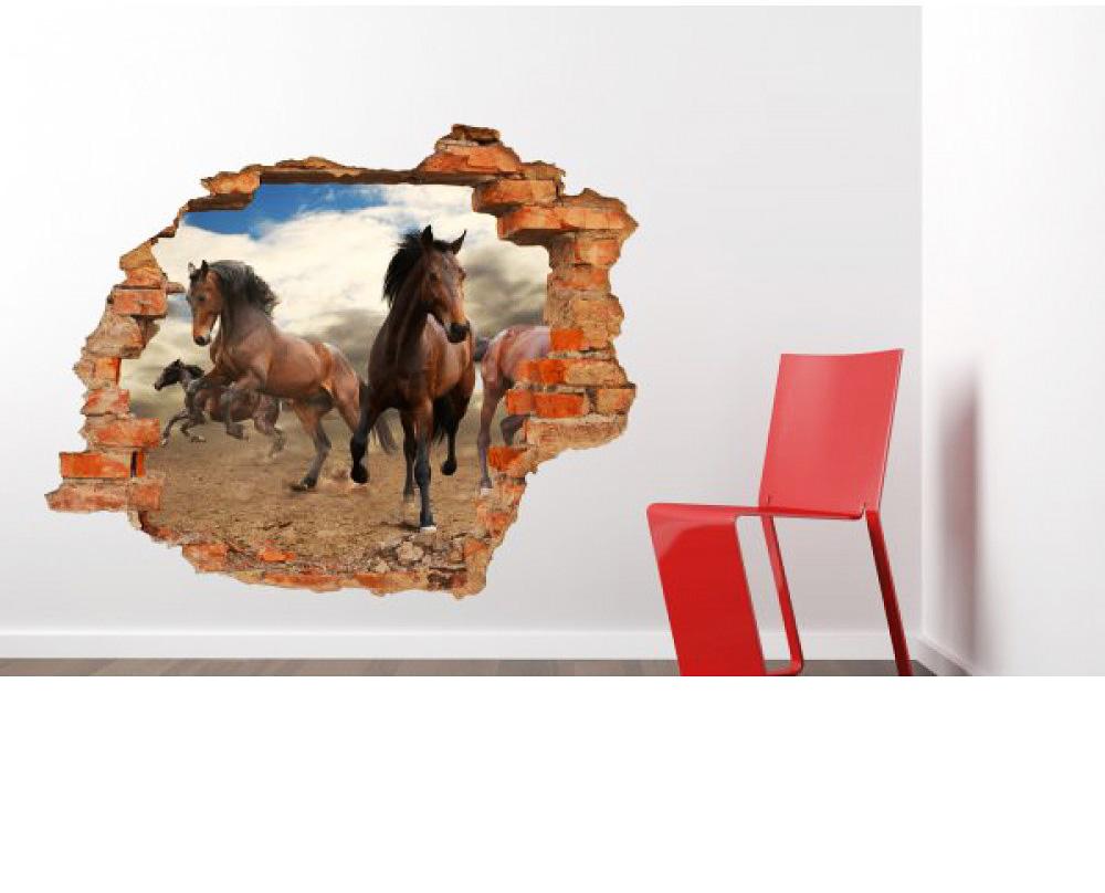 wandsticker 3d optik pferde wandsticker kinderzimmer. Black Bedroom Furniture Sets. Home Design Ideas