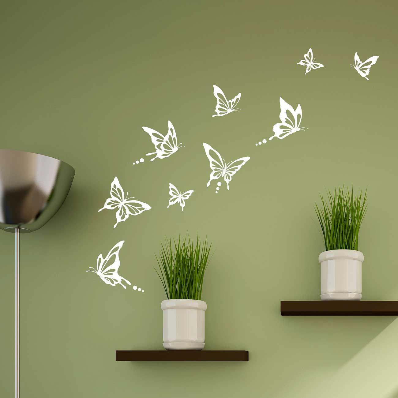 Wandtattoo Schmetterlinge modern weiß-Wohnzimmer