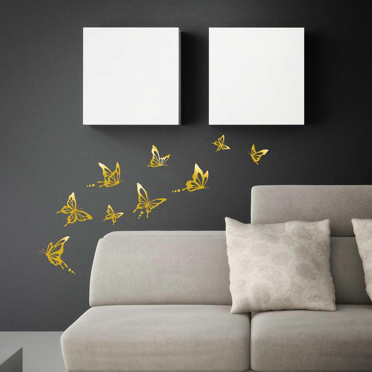 Verzauberkunst Wandtattoo Gold Sammlung Von Moderne Schmetterlinge Wohnzimmer