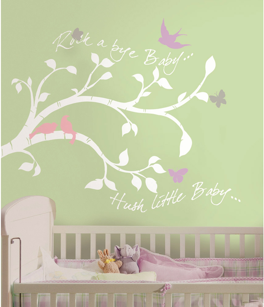 wandsticker babyzimmer wandtattoo wandbild rock a bye baby zweige ast zweig ebay. Black Bedroom Furniture Sets. Home Design Ideas