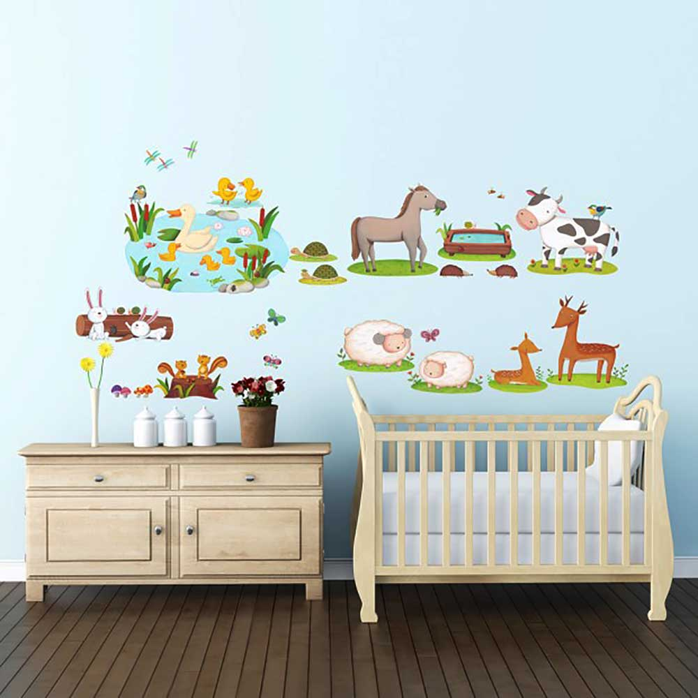 wandsticker bauernhof tiere milchkuh wandsticker kinderzimmer. Black Bedroom Furniture Sets. Home Design Ideas