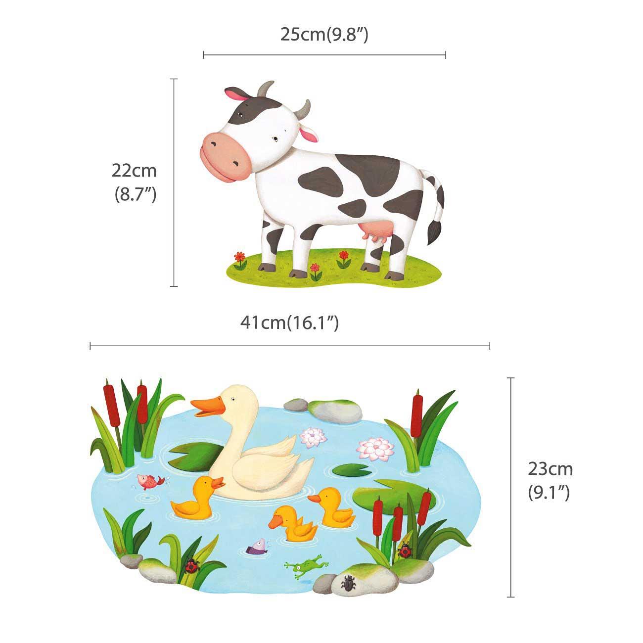 Wandsticker Bauernhof Tiere Milchkuh Wandsticker Kinderzimmer