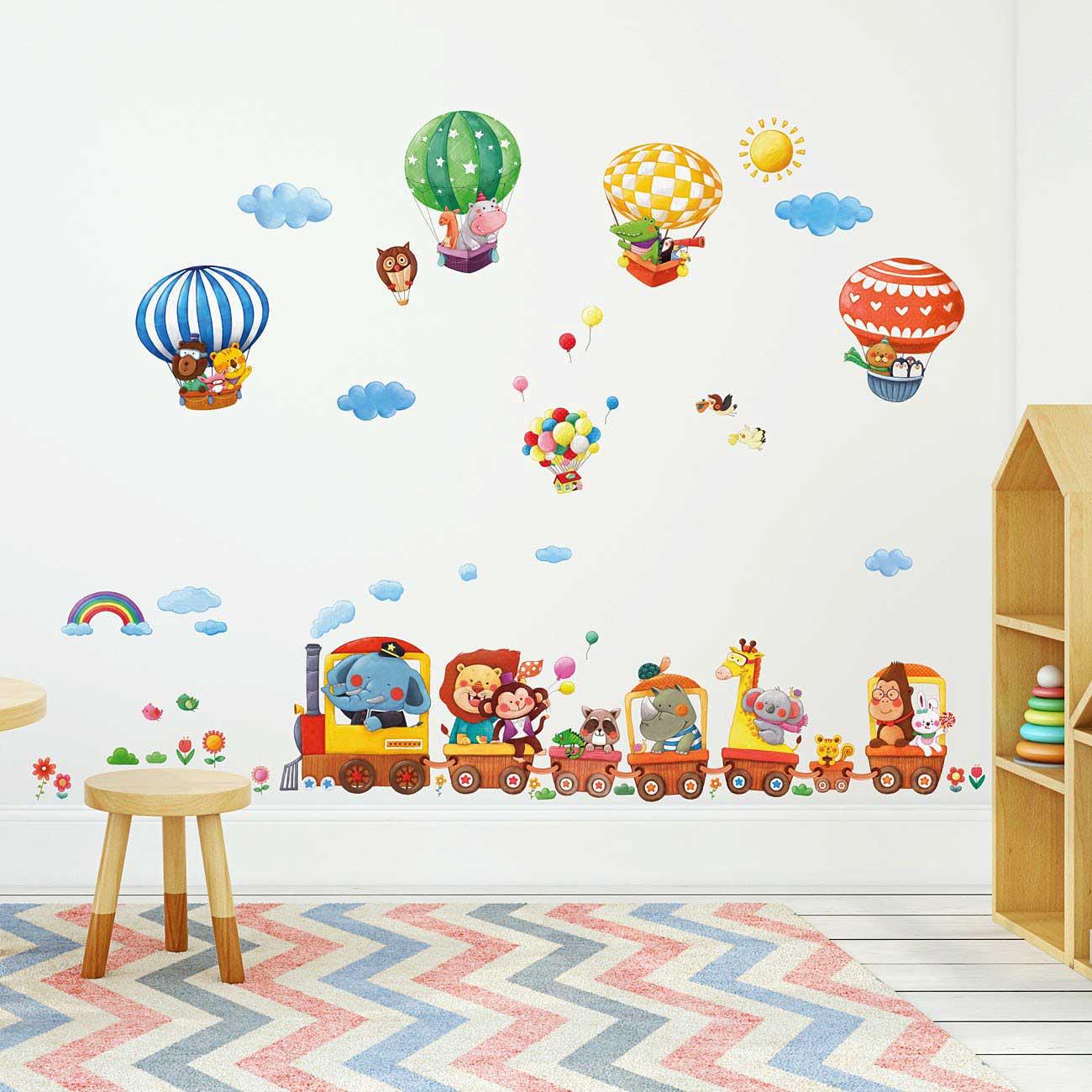 Wandtattoo Kinderzimmer Dschungel Und Elegant Wandtattoo: Wandsticker Reise Der Tiere-Wandsticker Kinderzimmer
