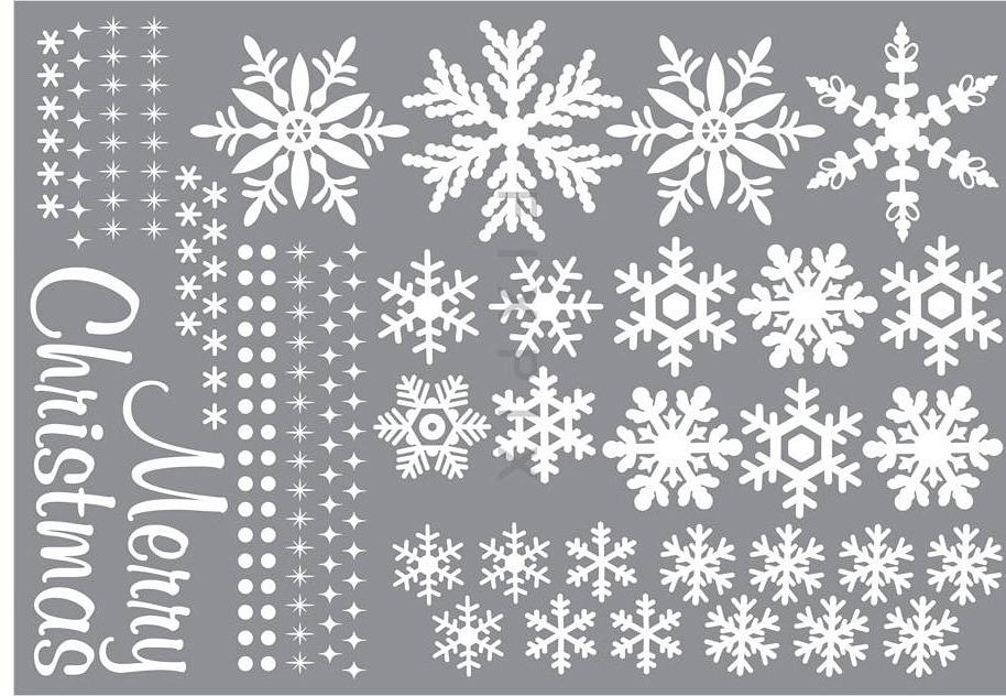 Wandsticker wandtattoo fensterbild schneeflocken merry christmas www 4 - Fensterbilder motive ...
