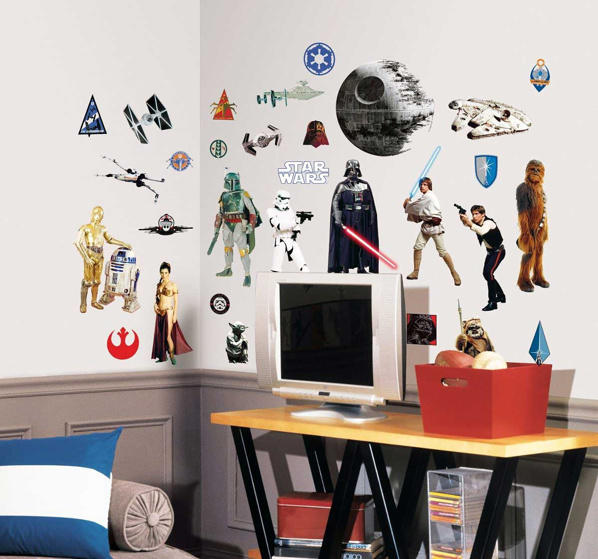 roommates wandtattoo star wars yoda luke skywalker darth. Black Bedroom Furniture Sets. Home Design Ideas