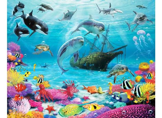 walltastic fototapete delfine fische meereswelt www 4. Black Bedroom Furniture Sets. Home Design Ideas