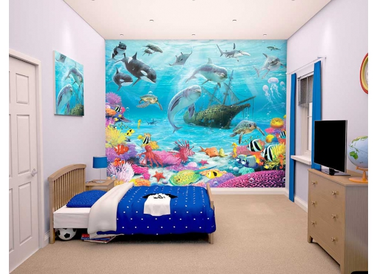 walltastic fototapete delfine fische meereswelt www 4. Black Bedroom Furniture Sets. Home Design Ideas