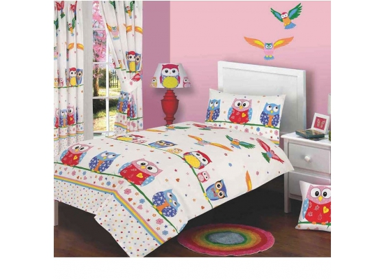 kinderzimmer gardinen vorh nge liebenswerte eulen 183cm ebay. Black Bedroom Furniture Sets. Home Design Ideas