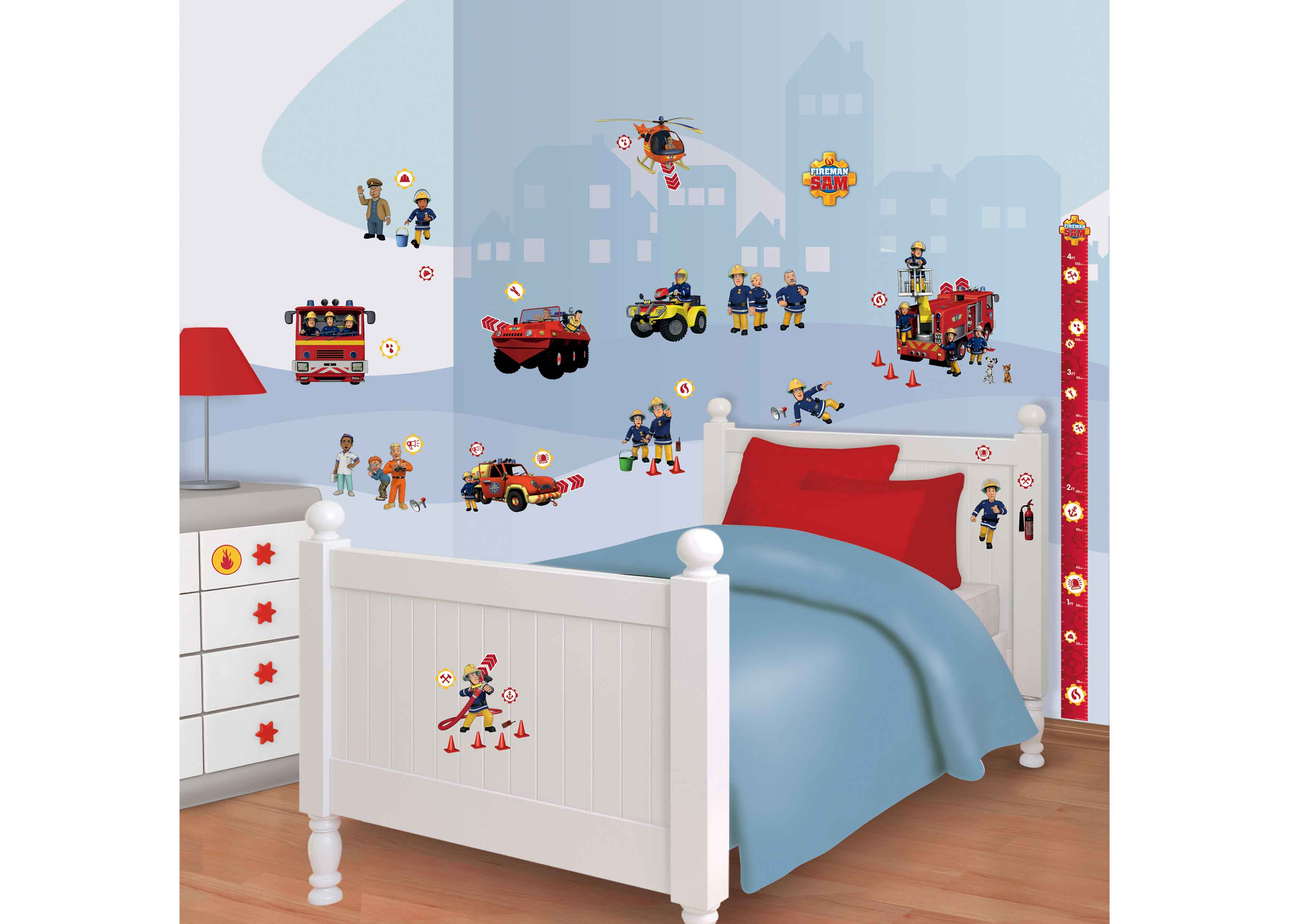walltastic wandsticker kinderzimmer feuerwehrmann sam. Black Bedroom Furniture Sets. Home Design Ideas
