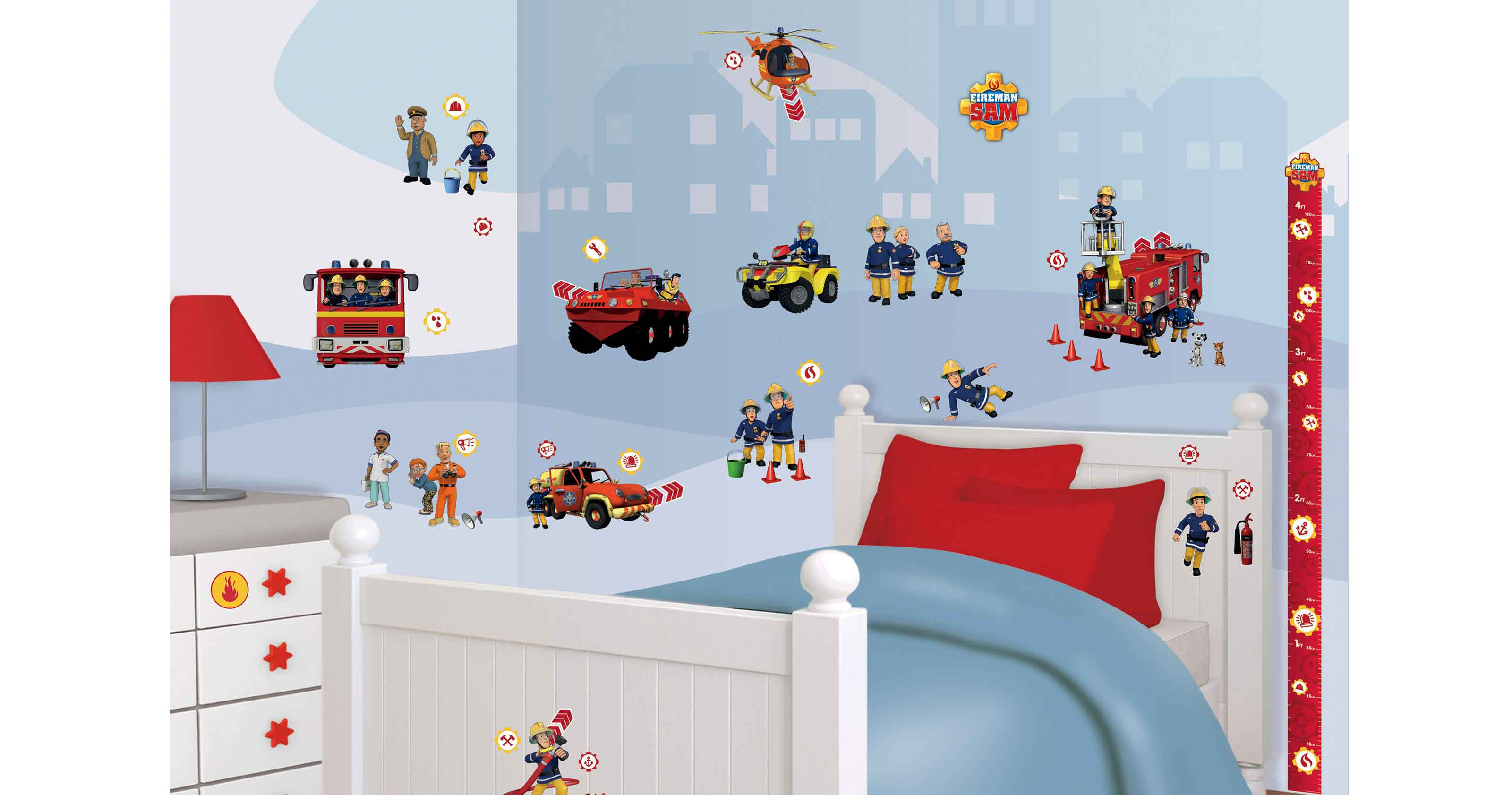 walltastic wandsticker kinderzimmer feuerwehrmann sam www 4. Black Bedroom Furniture Sets. Home Design Ideas