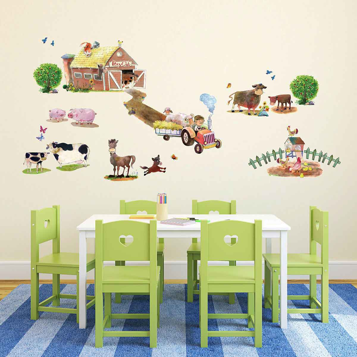 wandsticker ponyhof bauernhof tiere wandsticker kinderzimmer. Black Bedroom Furniture Sets. Home Design Ideas