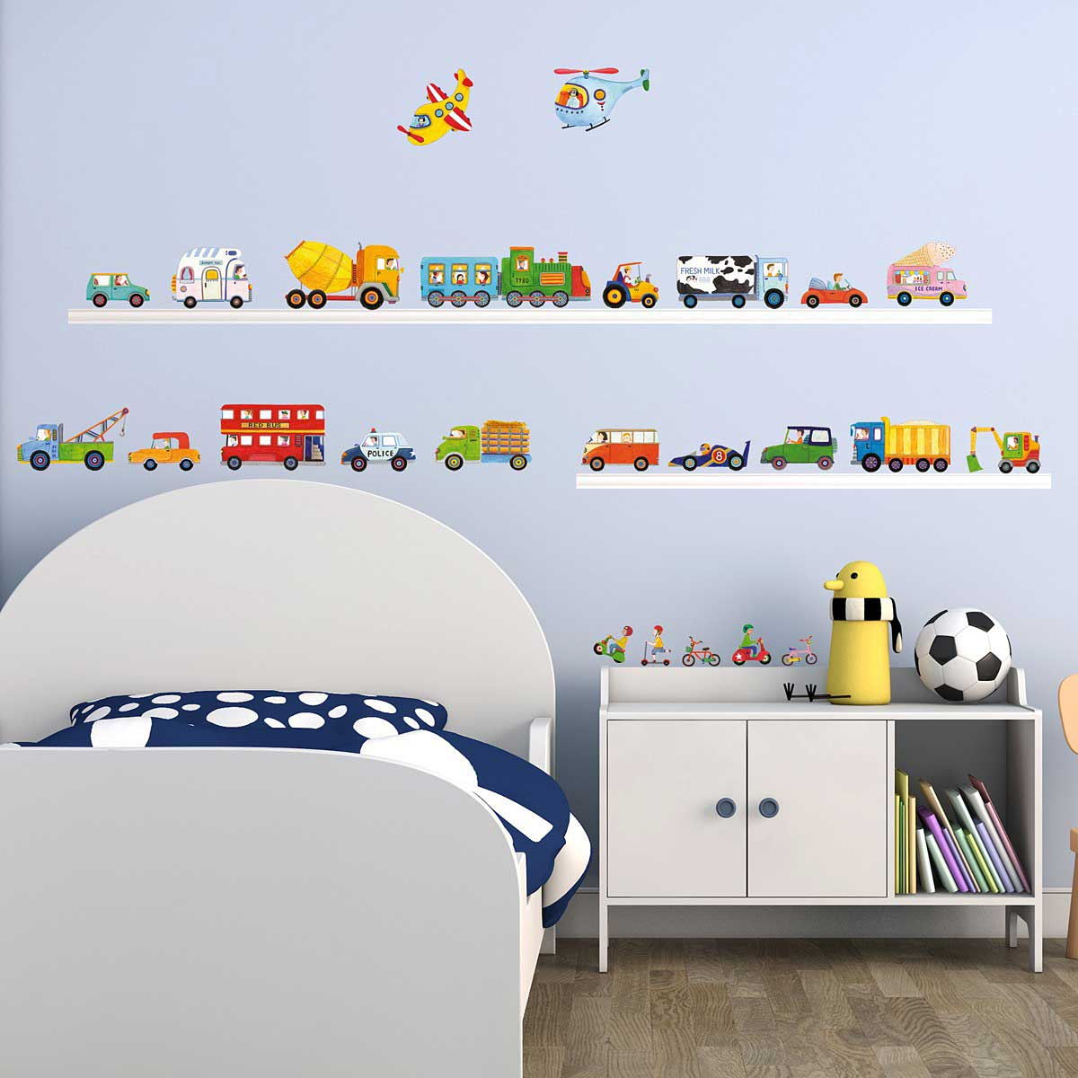wandsticker autos lkw truck bus bahn wandsticker kinderzimmer. Black Bedroom Furniture Sets. Home Design Ideas