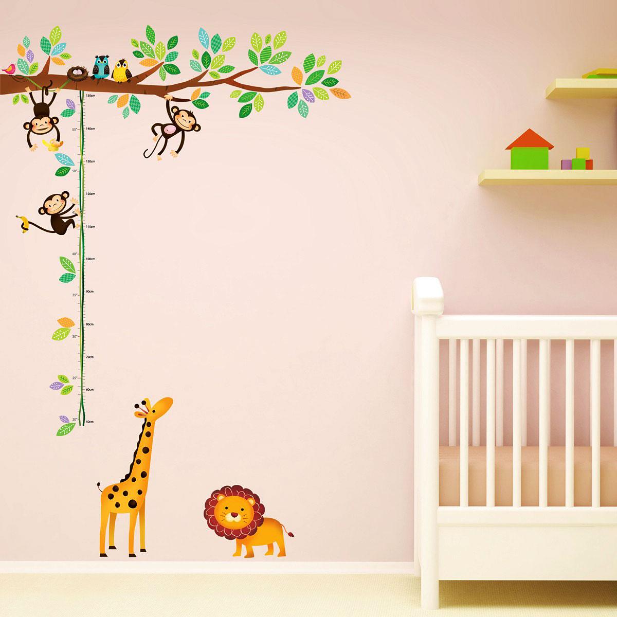 messlatte wandsticker 3 kleine affen mit l we kinderzimmer babyzimmer wandtattoo ebay. Black Bedroom Furniture Sets. Home Design Ideas