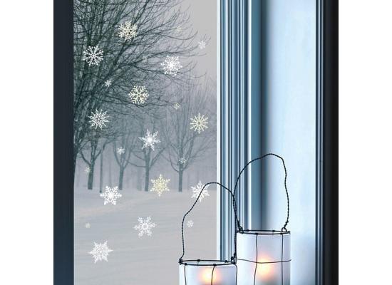 wandsticker winter schneeflocken nachtleuchtend weihnachten. Black Bedroom Furniture Sets. Home Design Ideas