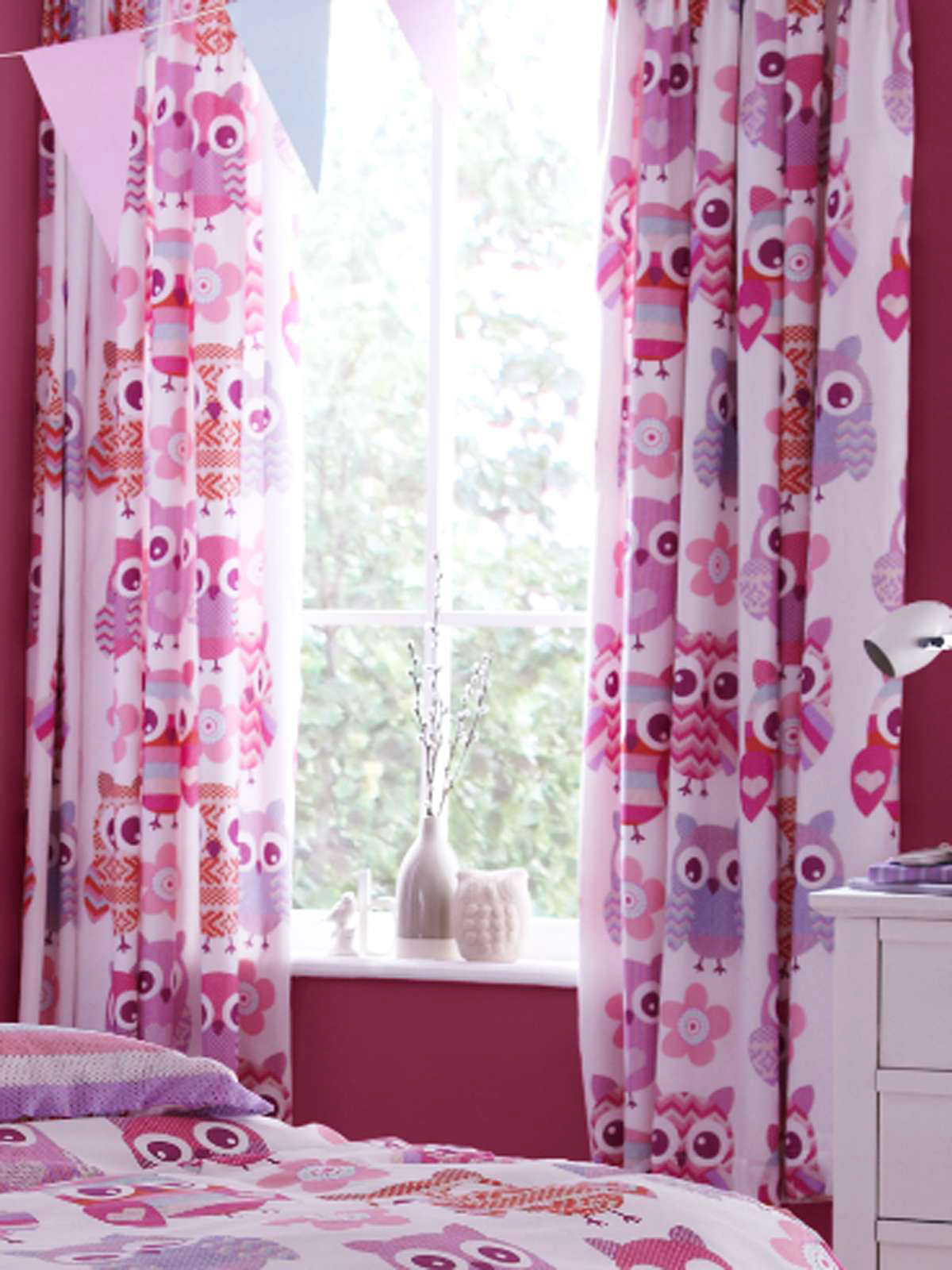 kinderzimmer gardine vorhang eule strickeffekt bettw sche. Black Bedroom Furniture Sets. Home Design Ideas