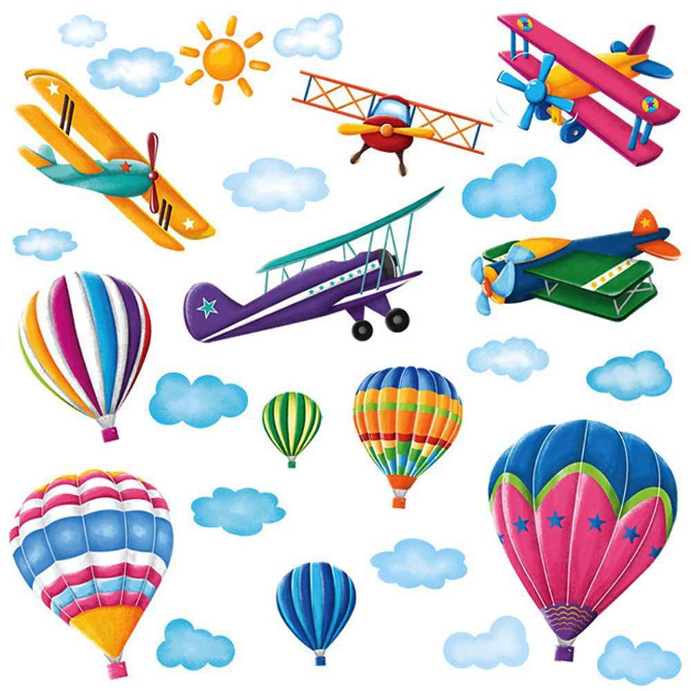 Wandsticker Wandtattoo Doppeldecker Flugzeuge Und Heissluftballons