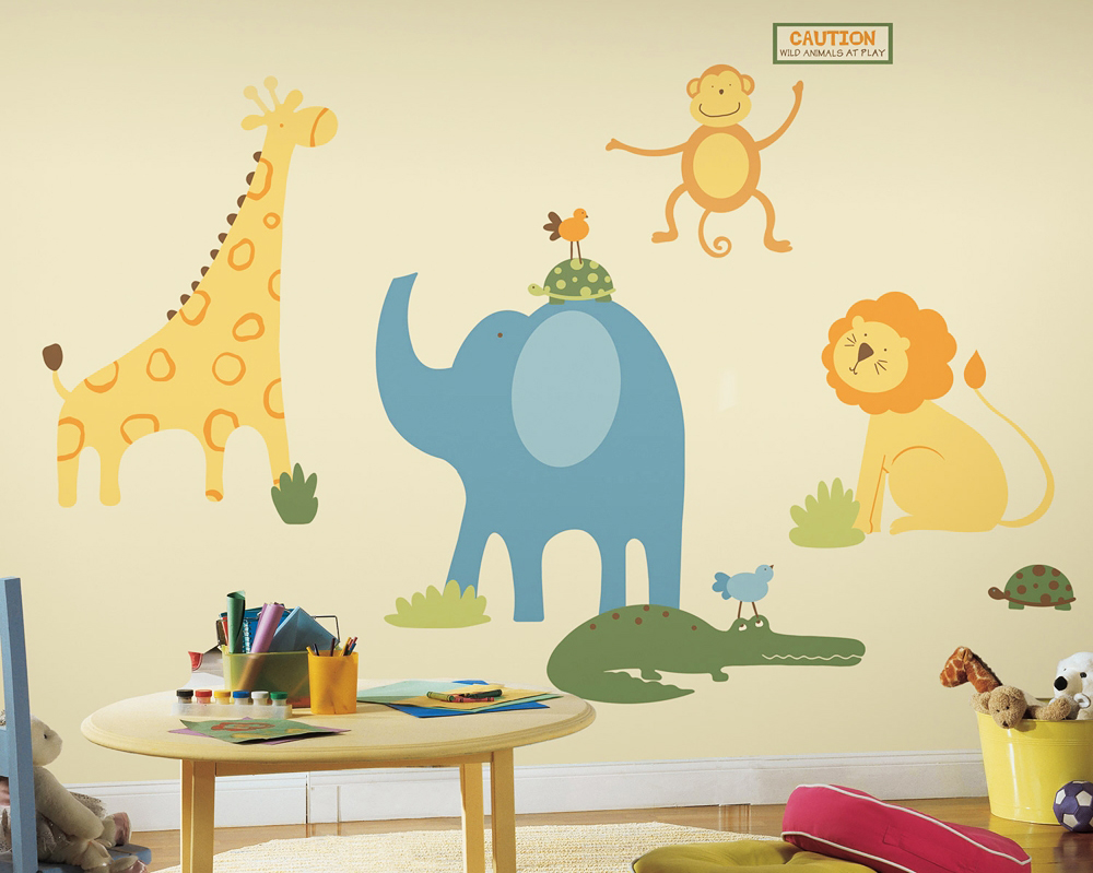 Roommates wandsticker wandtattoo zootiere kinderzimmer for Wandtattoo babyzimmer junge