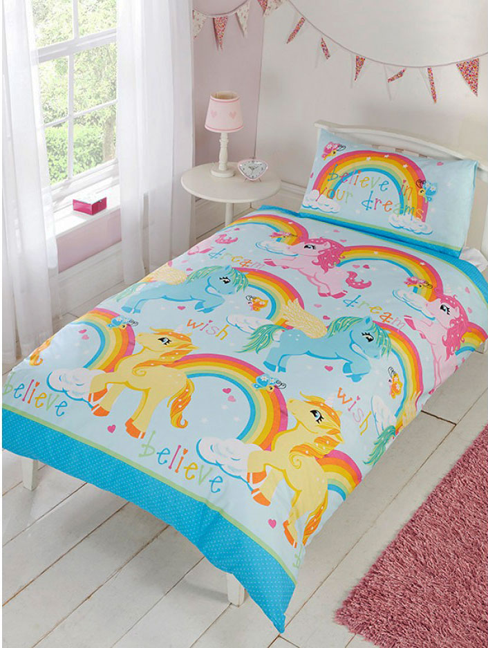 bettw sche einhorn regenbogen bettgarnitur 135 x 200 50 x 75 cm kinder neuheit ebay. Black Bedroom Furniture Sets. Home Design Ideas