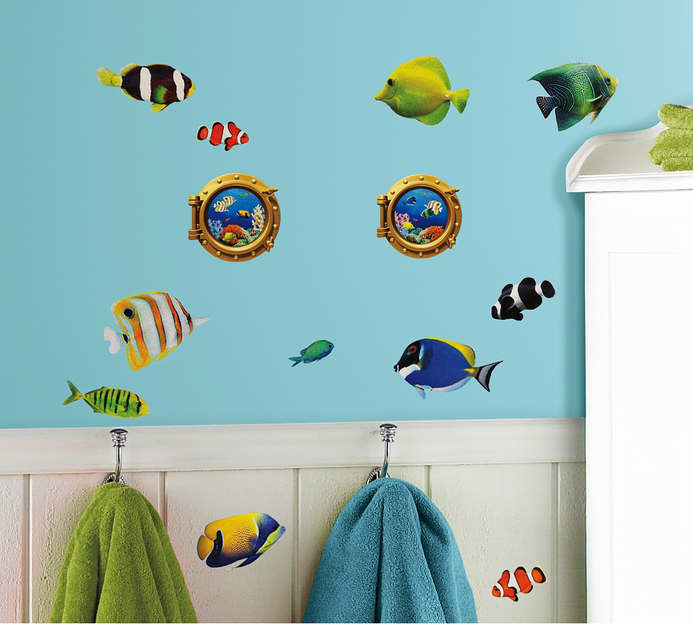 roommates wandsticker wandbild korallenriff fische mit 3d bullaugen www 4. Black Bedroom Furniture Sets. Home Design Ideas