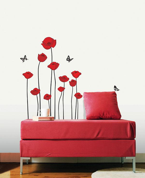 Wandtattoo Rote Blumen : Kombiniere die Motive untereinander und kreiere immer wieder einen