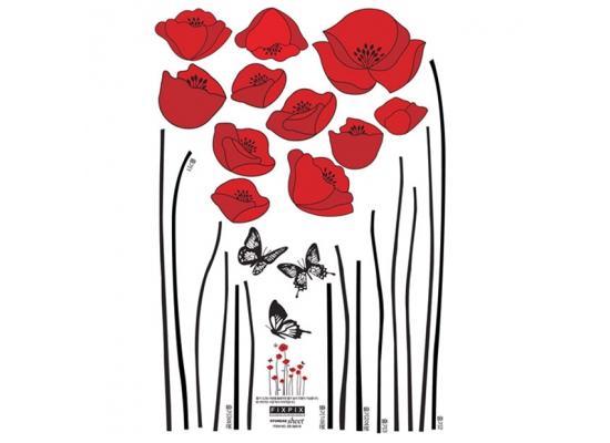 Wandtattoo Rote Blumen : Wandsticker Rote Mohnblumen WieseBlumen Baum
