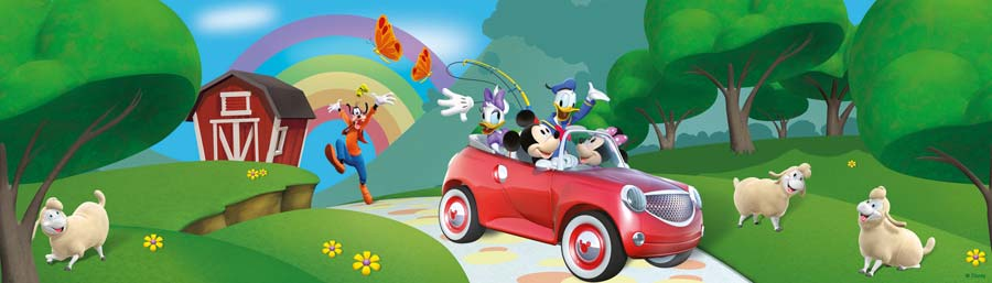 Kinderzimmer Tapeten Auto : Mickey Mouse Auto Schafe Club House Tapeten Borte selbstklebend eBay