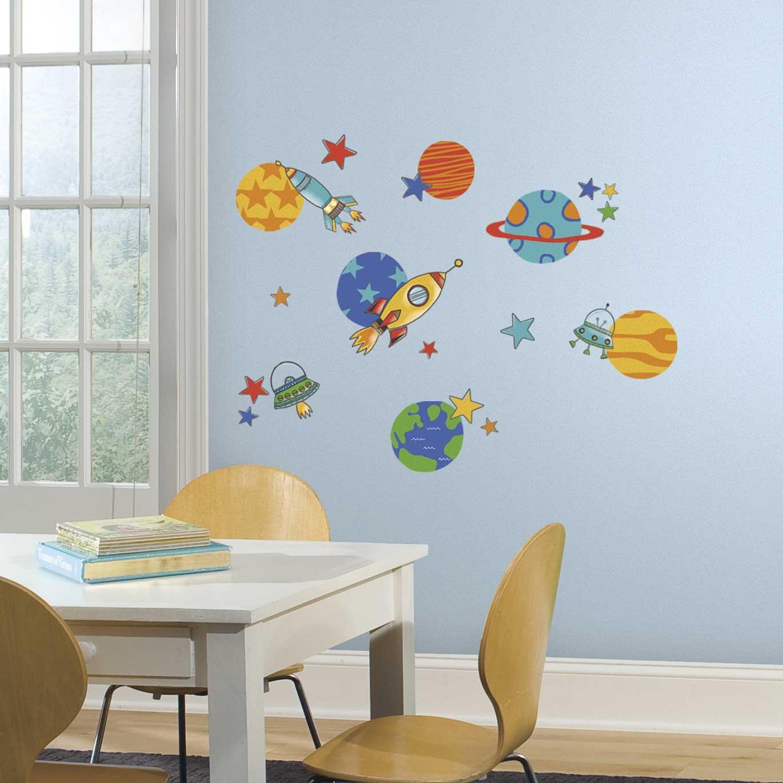 39 wandsticker wandtattoo planeten raketen weltall babyzimmer kinderzimmer deko ebay. Black Bedroom Furniture Sets. Home Design Ideas