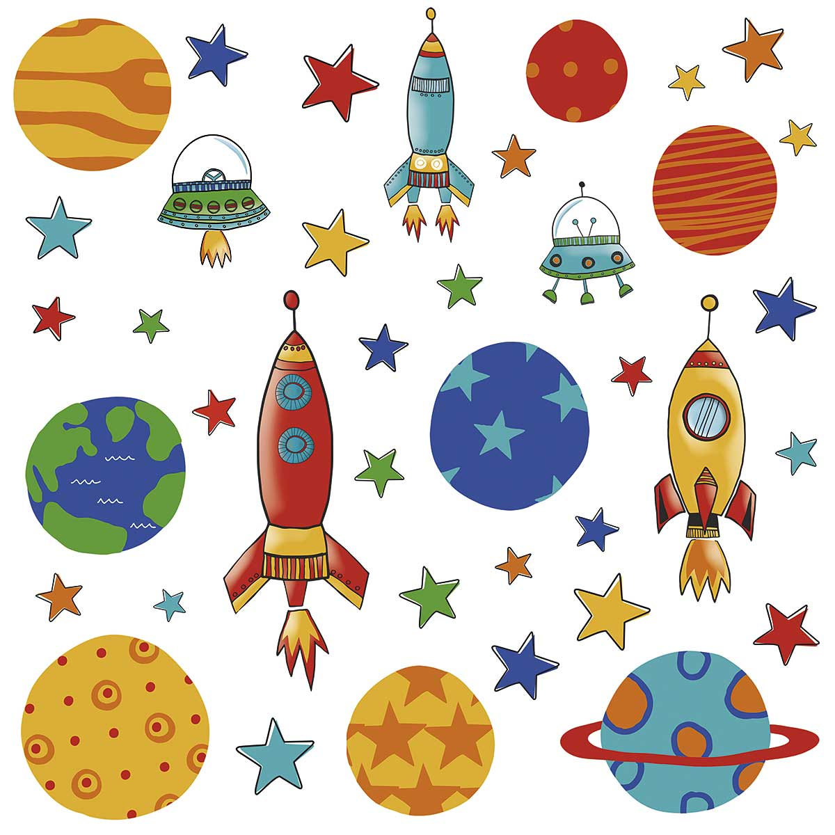 Rocket Wall Sticker Roommates Wandsticker Planeten Raketen Weltall Www 4 Haen De