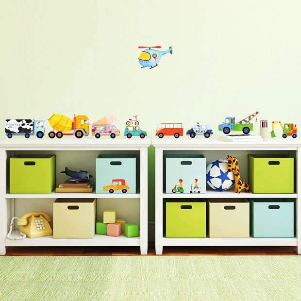 wandsticker autos hubschrauber bagger jungen kinderzimmer. Black Bedroom Furniture Sets. Home Design Ideas
